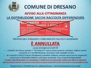 ANNULLAMENTO DISTRIBUZIONE SACCHI RACCOLTA DIFFERENZIATA
